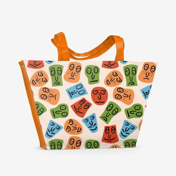 Пляжная сумка «Рожицы с различными эмоциями и абстрактные пятна»