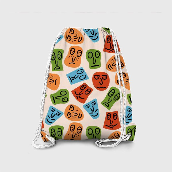 Рюкзак «Рожицы с различными эмоциями и абстрактные пятна»