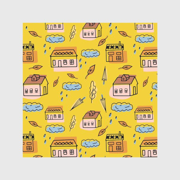 Скатерть «Домики на желтом.Осень.»
