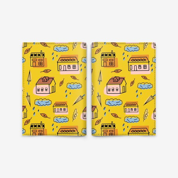 Обложка для паспорта «Домики на желтом.Осень.»
