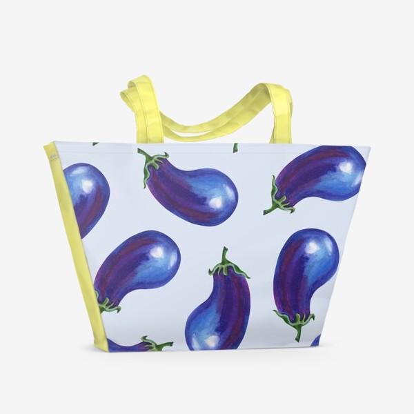 Пляжная сумка «Акварельные баклажаны»