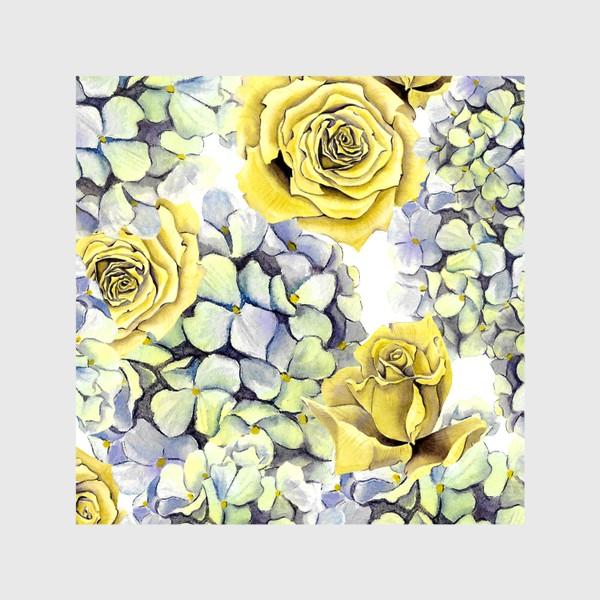 Шторы «Цветы, жёлтые розы и гортензия»