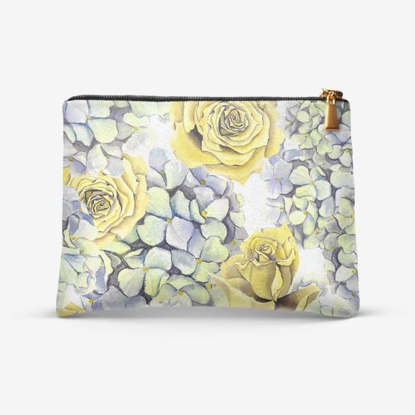 Косметичка «Цветы, жёлтые розы и гортензия»