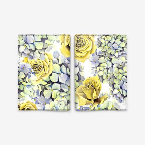 Обложка для паспорта «Цветы, жёлтые розы и гортензия»