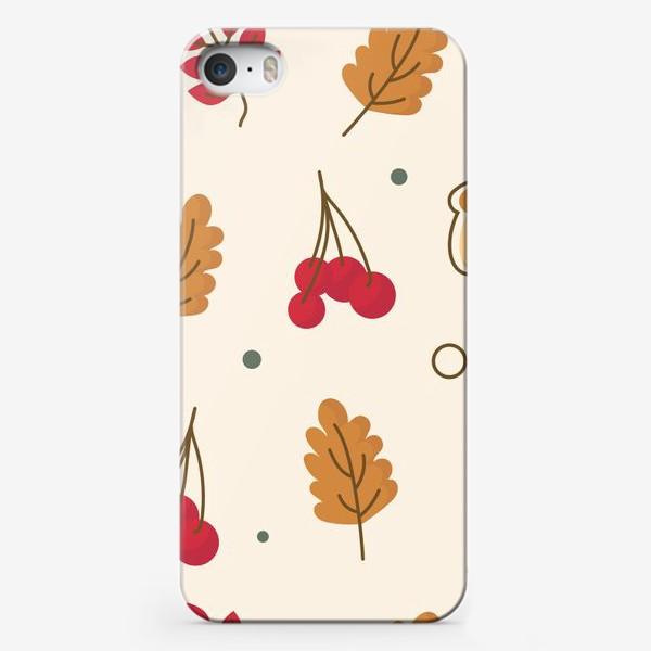 Чехол iPhone «Осенний паттерн с желудем, рябиной и листьями»