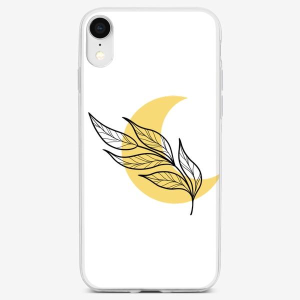 Чехол iPhone «Луна и листья абстракция»