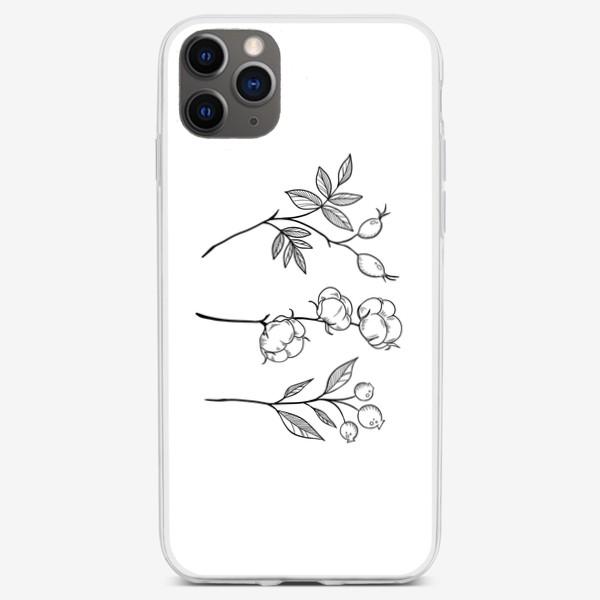 Чехол iPhone «Шиповник/Хлопок/Черника графика»