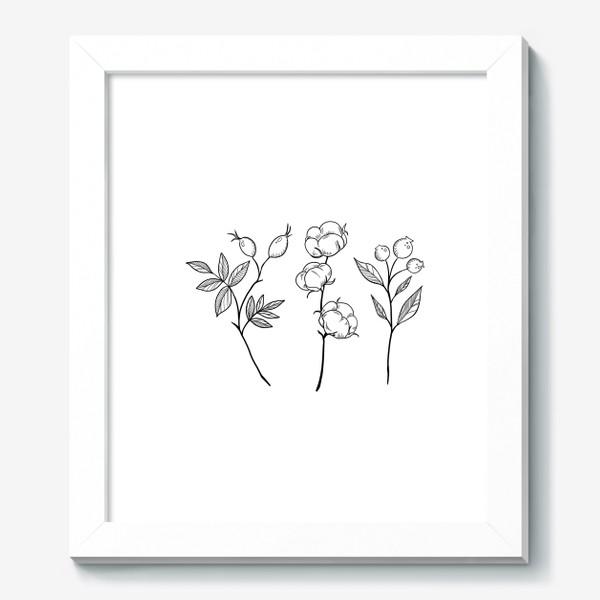 Картина «Шиповник/Хлопок/Черника графика»