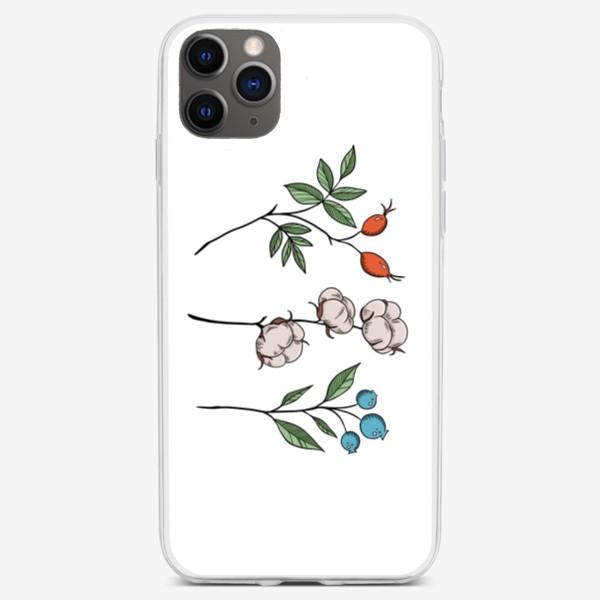 Чехол iPhone «Шиповник/Хлопок/Черника »