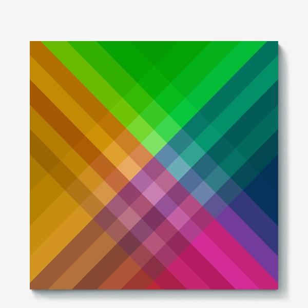 Холст «Красочный разноцветный узор в клетку»