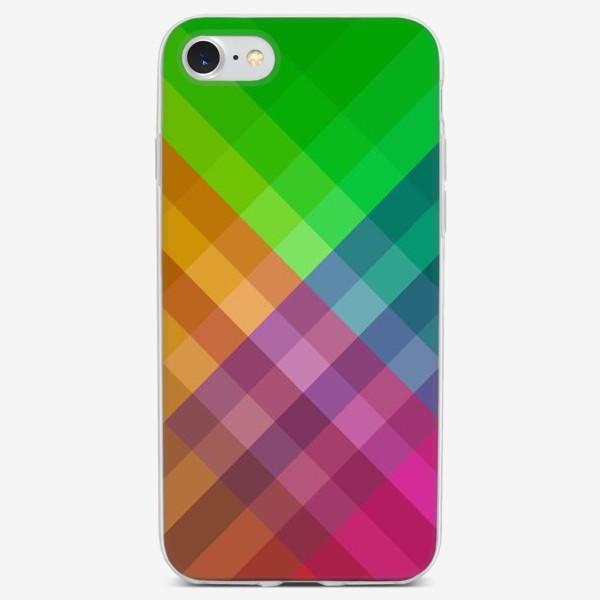 Чехол iPhone «Красочный разноцветный узор в клетку»