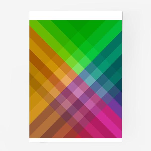 Постер «Красочный разноцветный узор в клетку»