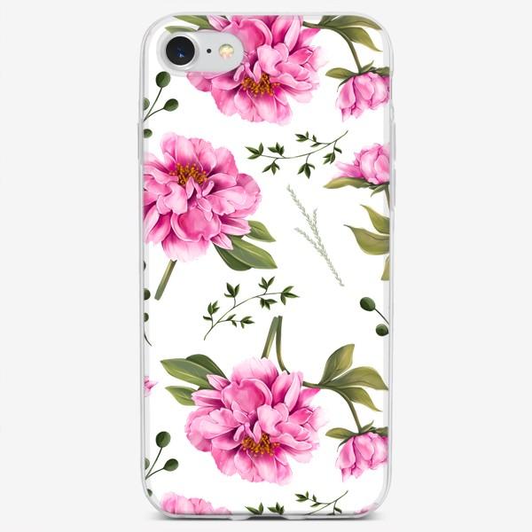 Чехол iPhone «паттерн Пушистый пион»