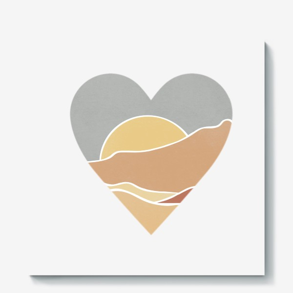 Холст «Закат минимализм любовь сердце»