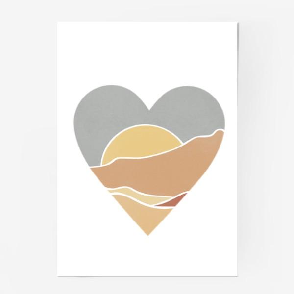 Постер «Закат минимализм любовь сердце»
