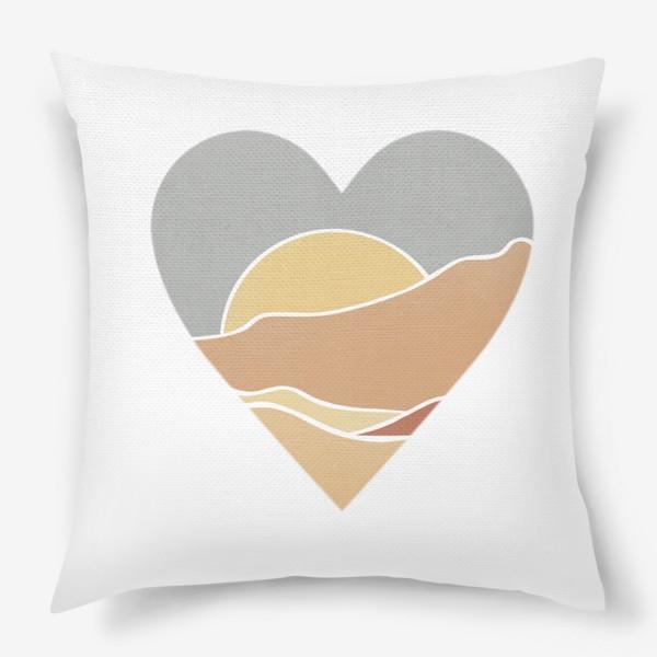 Подушка «Закат минимализм любовь сердце»