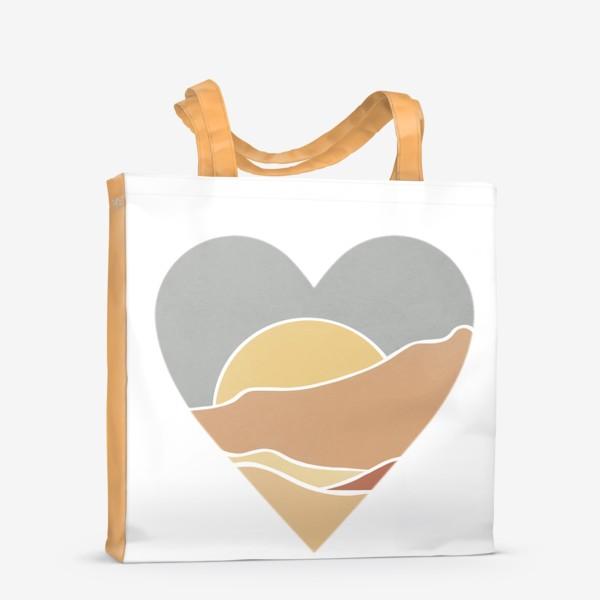 Сумка-шоппер «Закат минимализм любовь сердце»