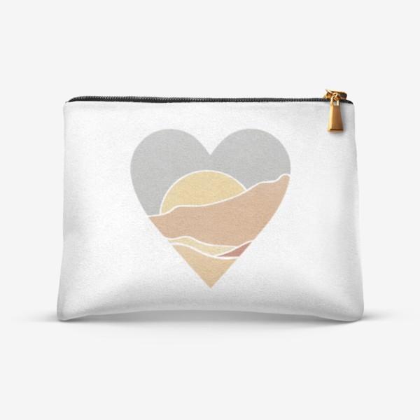 Косметичка «Закат минимализм любовь сердце»