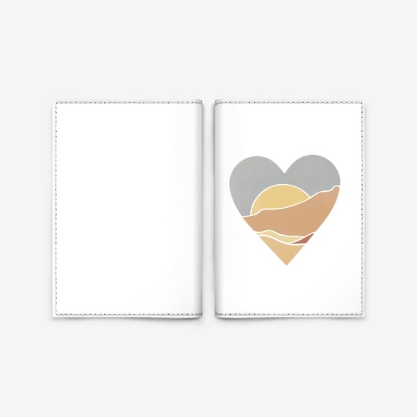 Обложка для паспорта «Закат минимализм любовь сердце»