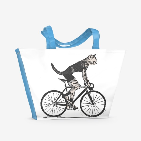 Пляжная сумка «Cat Bike Punk Rider»