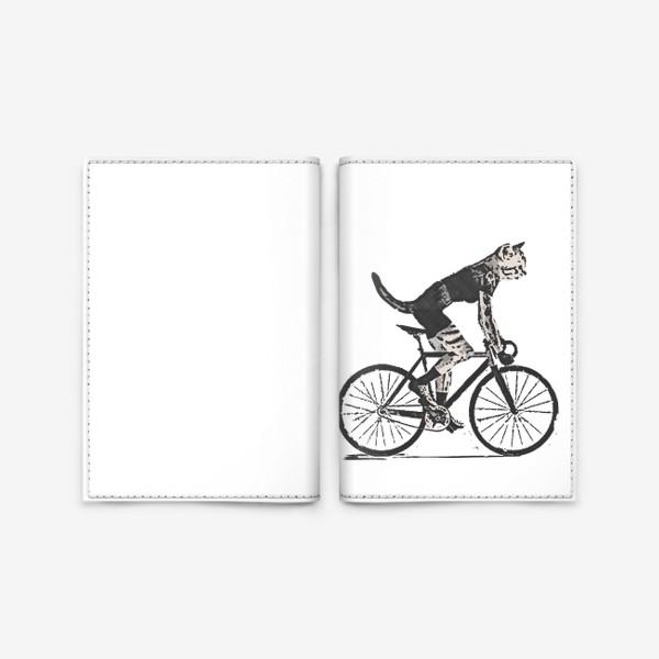 Обложка для паспорта «Cat Bike Punk Rider»