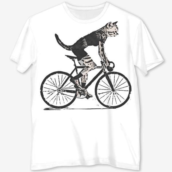 Футболка с полной запечаткой «Cat Bike Punk Rider»