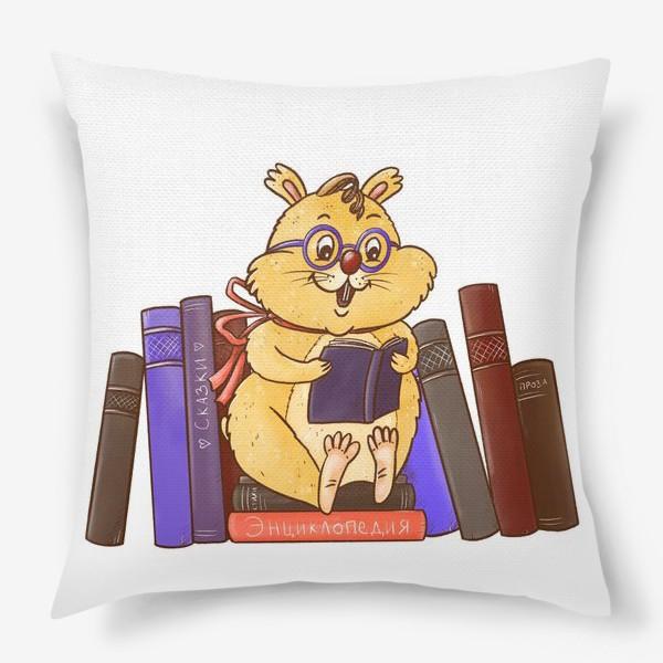 Подушка «Книжный хомяк. Книголюб. Любителю книг. Любителю чтения. День знаний. Умник»