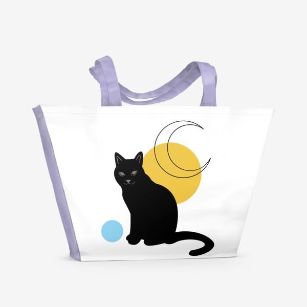 Пляжная сумка «Котик абстракция»