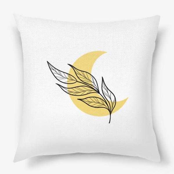 Подушка «Луна и листья абстракция»