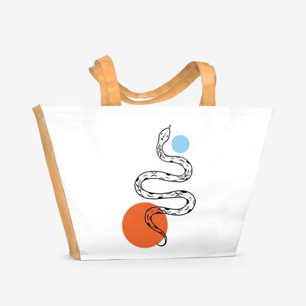 Пляжная сумка «Змея абстракция»