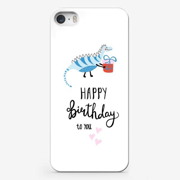 Чехол iPhone «Праздничный принт с динозавром»