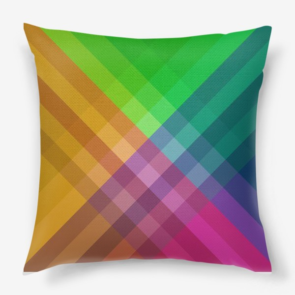Подушка «Красочный разноцветный узор в клетку»
