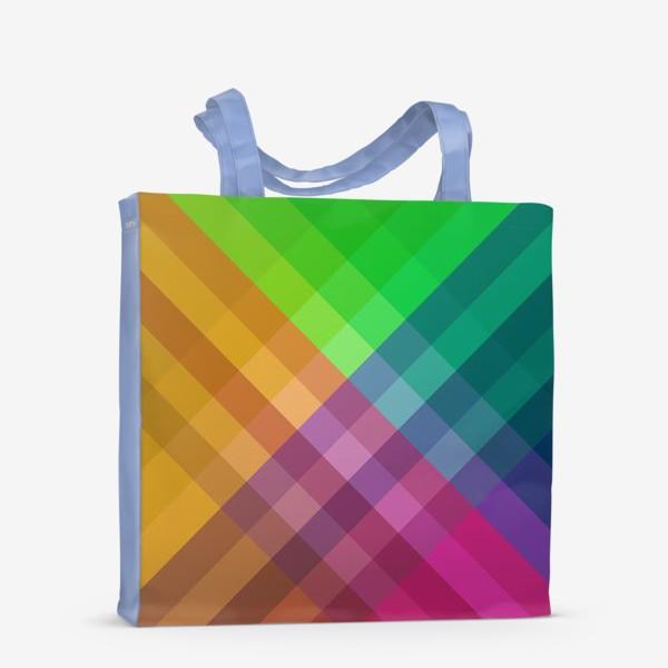 Сумка-шоппер «Красочный разноцветный узор в клетку»