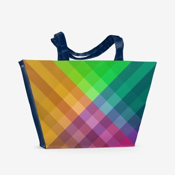 Пляжная сумка «Красочный разноцветный узор в клетку»