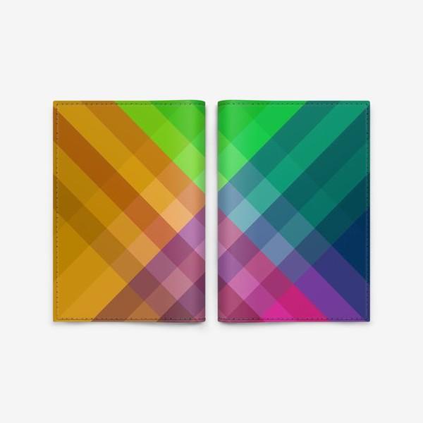 Обложка для паспорта «Красочный разноцветный узор в клетку»