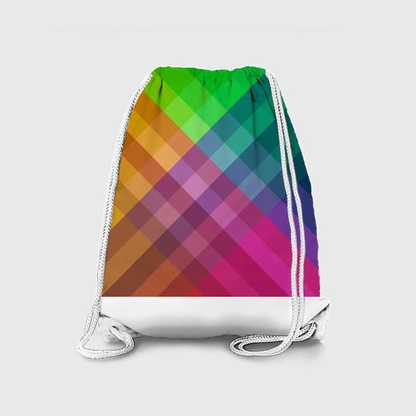 Рюкзак «Красочный разноцветный узор в клетку»