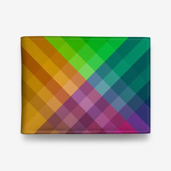 Кошелек «Красочный разноцветный узор в клетку»