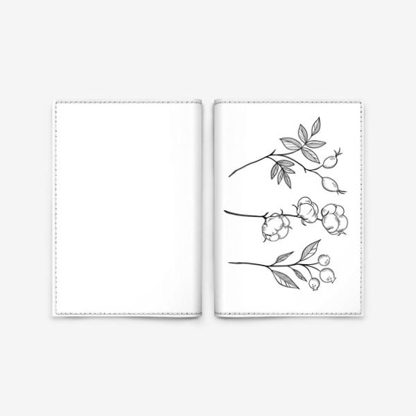 Обложка для паспорта «Шиповник/Хлопок/Черника графика»