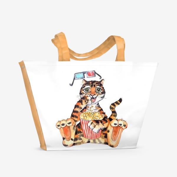 Пляжная сумка «Тигр с попкорном»