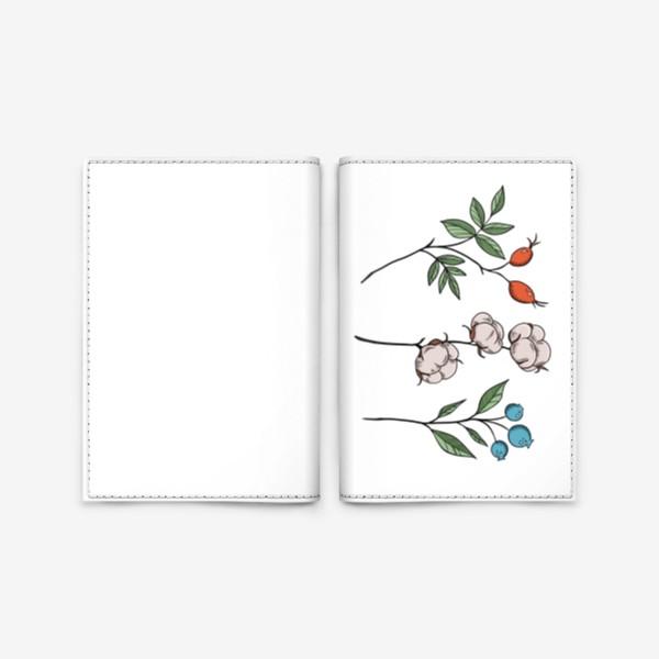 Обложка для паспорта «Шиповник/Хлопок/Черника »