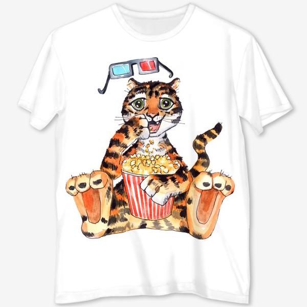 Футболка с полной запечаткой «Тигр с попкорном»