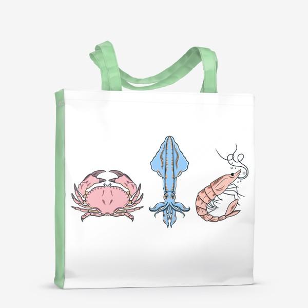 Сумка-шоппер «Морские обитатели (краб, кальмар, креветка)»