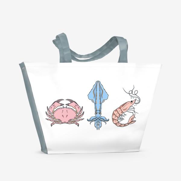 Пляжная сумка «Морские обитатели (краб, кальмар, креветка)»