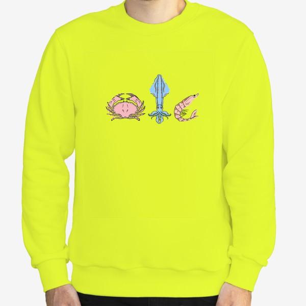 Свитшот «Морские обитатели (краб, кальмар, креветка)»