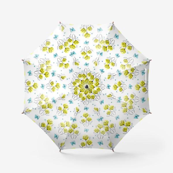 """Зонт «Паттерн """"Пижма и бабочки. Стилизация""""»"""
