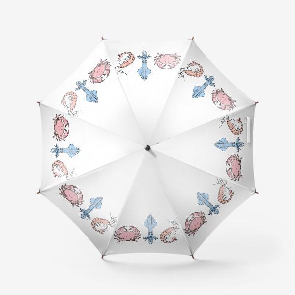 Зонт «Морские обитатели (краб, кальмар, креветка)»