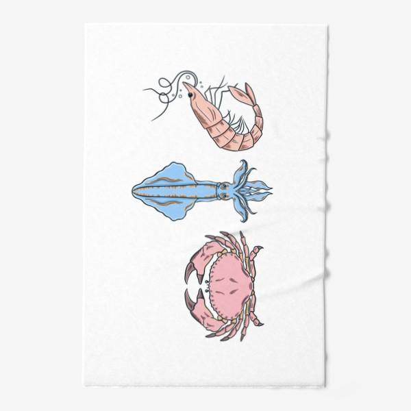 Полотенце «Морские обитатели (краб, кальмар, креветка)»