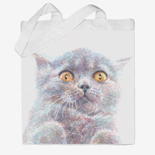 Сумка хб «Серый котик»