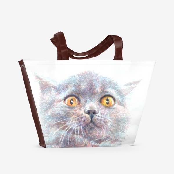 Пляжная сумка «Серый котик»
