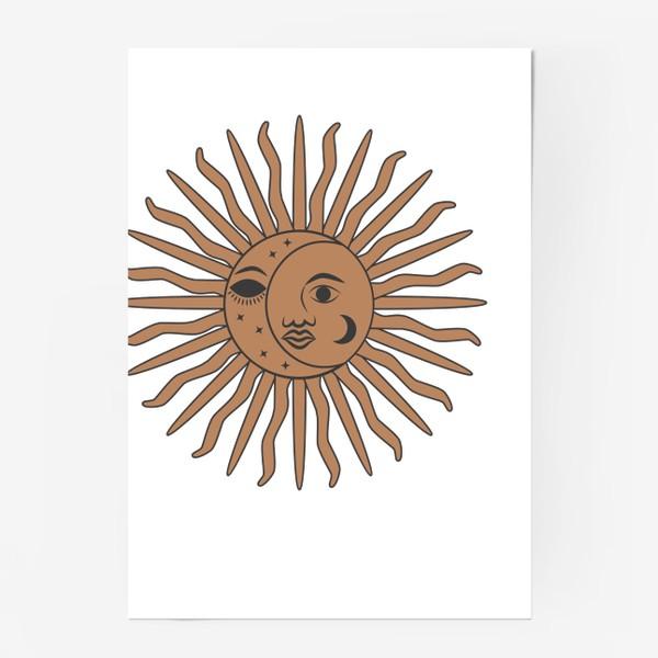 Постер «Магический символ солнце и луна»